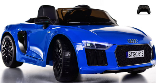 Audi R8 Spyder Kids Ride On car w/ Leather Seat & Rubber Tires - blue