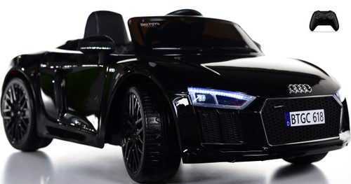 Audi R8 SpyderKids Ride On car w/ Leather Seat & Rubber Tires - Black
