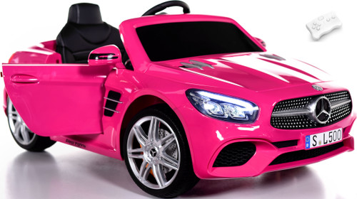 Mercedes Benz SL 500 RC Ride On Car w/ rubber tires + RC Remote - Pink