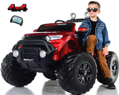 Monster Truck 4x4 Ride On Kids Toddler Truck RC w/ Rubber Tires - Red