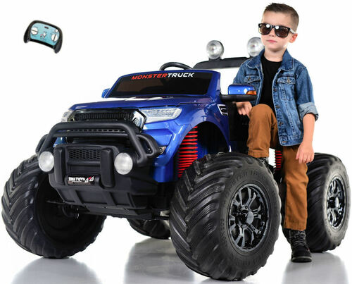 Monster Truck 4x4 Ride On Kids Toddler Truck RC w/ Rubber Tires - Blue