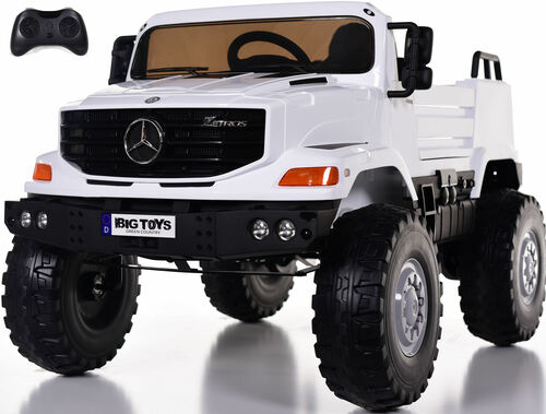 12v Mercedes Zetros Ride On Truck w/ Remote Control & Rubber Tires - White