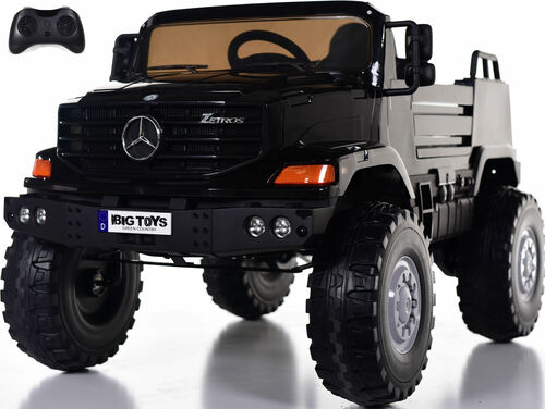 12v Mercedes Zetros Ride On Truck w/ Remote Control & Rubber Tires - Black