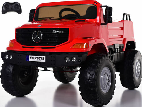 12v Mercedes Zetros Ride On Truck w/ Remote Control & Rubber Tires - Red