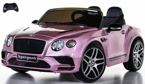 Bentley GT SuperSports Ride On 12V Car w/ Remote Control & Rubber Tires - Pink