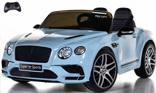 Bentley GT SuperSports Ride On 12V Car w/ Remote Control & Rubber Tires - Baby Blue