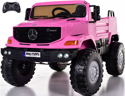 12v Mercedes Zetros Ride On Truck w/ remote control & Rubber Tires - Pink