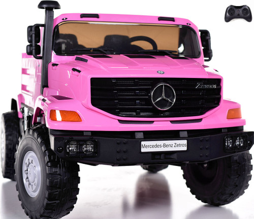 12v Mercedes Big Rig XL Ride On Truck w/ remote control & Rubber Tires -pink