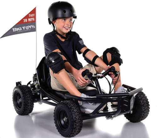 Super Fast 30 MPH Big Toys Mini 50cc 2 stroke Gas Go-Kart - Black