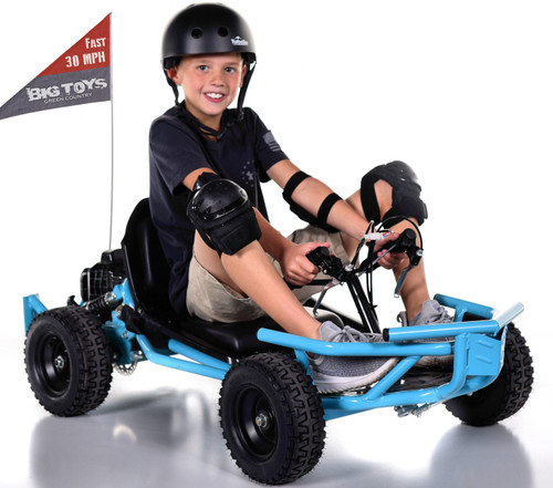 Super Fast 30 MPH Big Toys Mini 50cc 2 stroke Gas Go-Kart - Blue