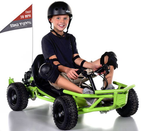 Super Fast 30 MPH Big Toys Mini 50cc 2-Stroke Gas Go-Kart - Green