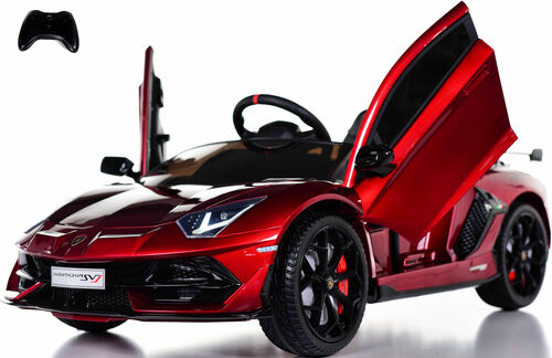 Lamborghini Performante Ride On Car w/ Leather Seat & Rubber Tires - Burgundy