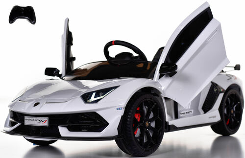Lamborghini Performante  Ride On Car w/ Leather Seat & Rubber Tires - White