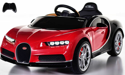 Bugatti Chiron Ride on Car w/ Rubber Tires & Leather Seat - Red