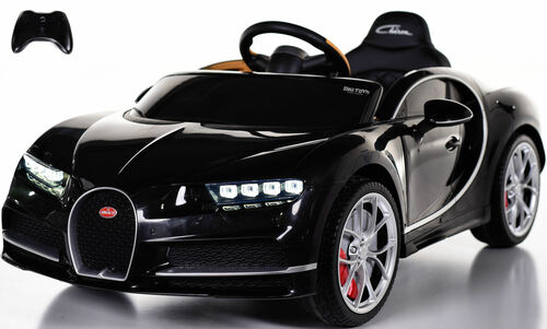 Bugatti Chiron Ride on Car w/ Rubber Tires & Leather Seat - Black