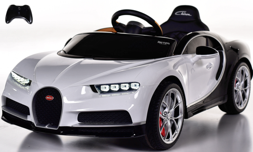 Bugatti Chiron Ride on Car w/ Rubber Tires & Leather Seat - White
