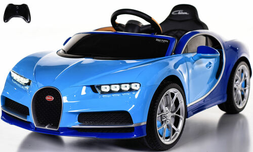Bugatti Chiron Ride on Car w/ Rubber Tires & Leather Seat - Blue