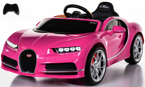 Bugatti Chiron Ride On Car w/ Rubber Tires & Leather Seat - Pink
