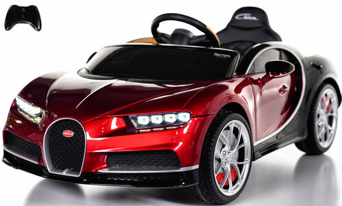 Bugatti Chiron Ride On Car w/ Rubber Tires & Leather Seat - Burgundy