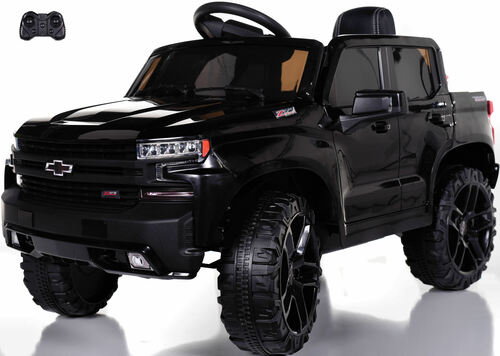 Chevy Silverado Ride On Pickup Truck w/ Remote Control & Leather Seat - Black