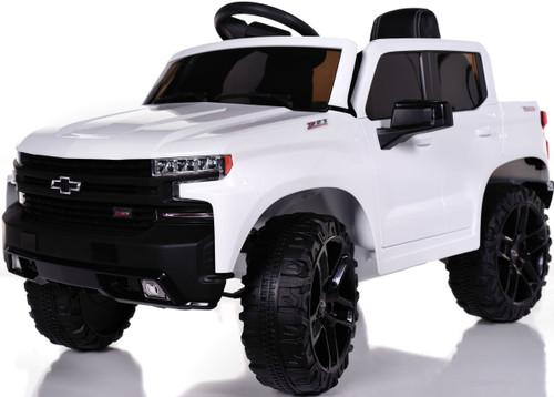Chevy Silverado Ride On Pickup Truck w/ Remote Control & Leather Seat - White