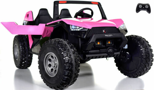 24v Challenger XL Ride On 4x4 Buggy w/ RUBBER TIRES & LEATHER SEAT - Pink