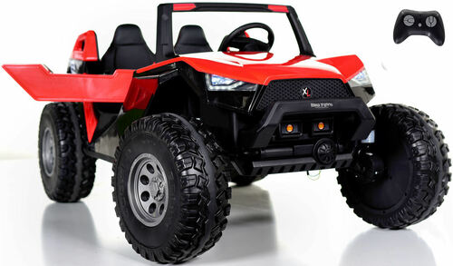 24v Challenger XL Ride On 4x4 Buggy w/ RUBBER TIRES & LEATHER SEAT - Red
