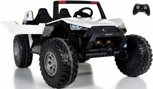 24v Challenger XL Ride On 4x4 Buggy w/ RUBBER TIRES & LEATHER SEAT - White