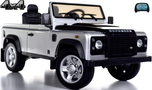 12v 4x4 Land Rover Defender Ride On Truck w/ Rubber Tires - Silver