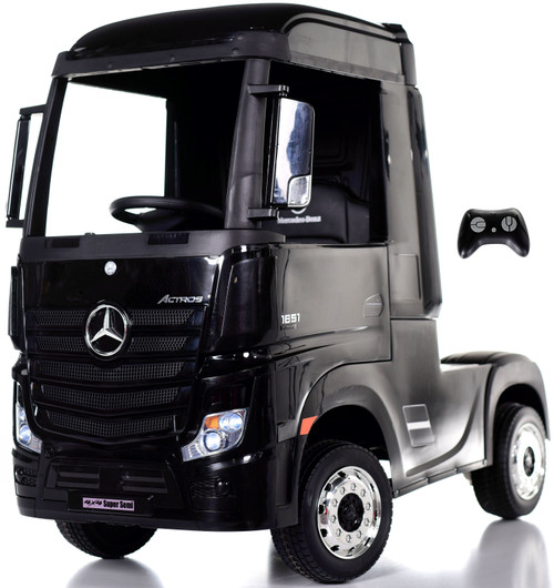 12v 4WD Mercedes Semi Ride On Truck w/ Remote Control & Rubber Tires - Black