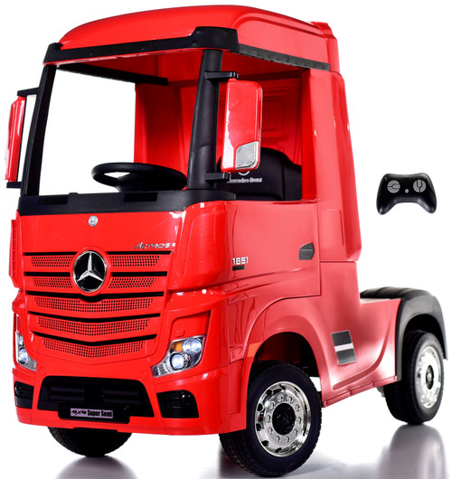 12v 4WD Mercedes Semi Ride On Truck w/ Remote Control & Rubber Tires - Red