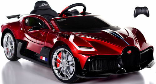 Bugatti Divo Ride On Car w/ Rubber Tires & Leather Seat - Burgundy