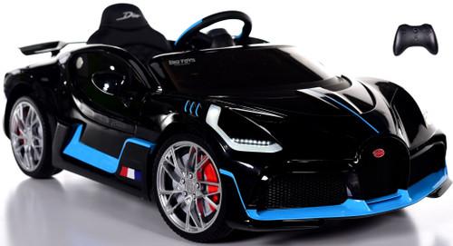 Bugatti Divo Ride On Car w/ Rubber Tires & Leather Seat - Black