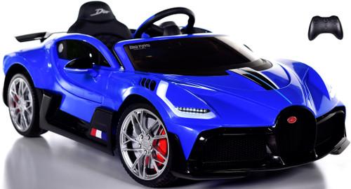 Bugatti Divo Ride On Car w/ Rubber Tires & Leather Seat - Blue