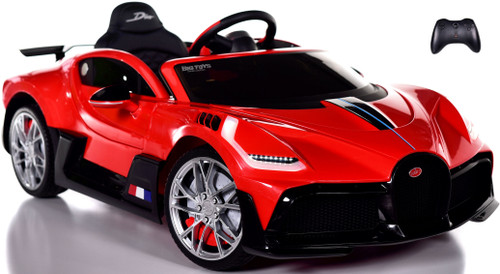 Bugatti Divo Ride On Car w/ Rubber Tires & Leather Seat - Red