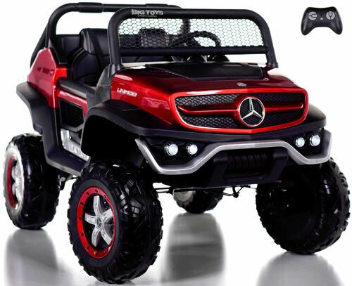 24v Mercedes Unimog Ride On UTV w/ Remote Control & Rubber Tires - Red