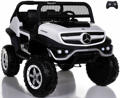 24v Mercedes Unimog Ride On UTV w/ Remote Control & Rubber Tires - White