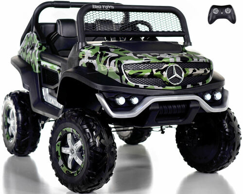 24v Mercedes Unimog Ride On UTV w/ Remote Control & Rubber Tires - Camo