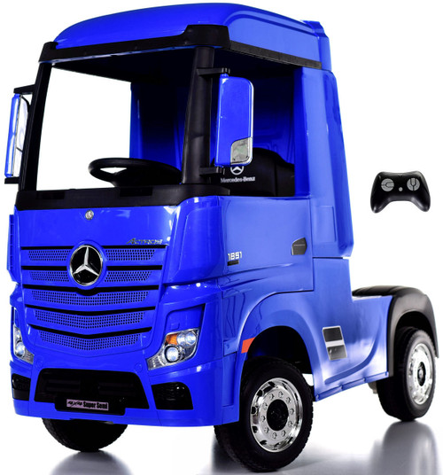 12V 4WD Mercedes Semi Ride On Truck w/ Remote Control & Rubber Tires - Blue