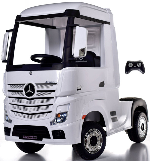 12V 4WD Mercedes Semi Ride On Truck w/ Remote Control & Rubber Tires - White