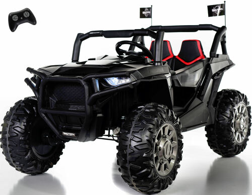 4x4 Dune Buggy UTV Ride On Side X Side RC w/ Rubber Tires - Jet Black