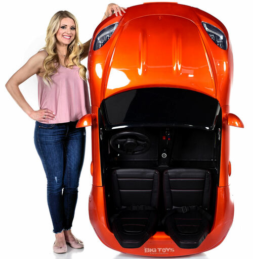 Giant 24V Big Kids Ride On Super Car XXL 180W Motor & Rubber Tires - Orange