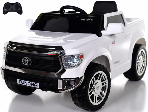 Mini Toyota Tundra Ride On Truck w/ RUBBER TIRES & LEATHER SEAT - White