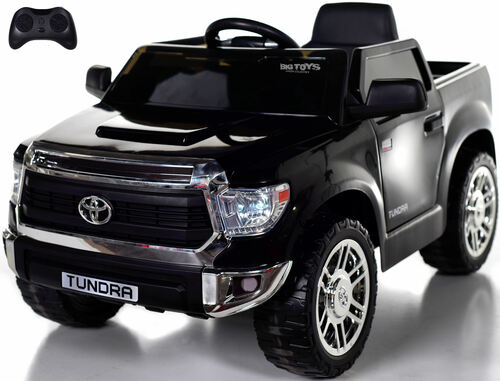 Mini Toyota Tundra Ride On Truck w/ RUBBER TIRES & LEATHER SEAT - Black