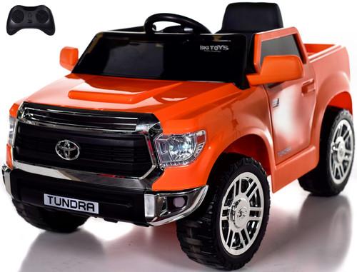 Mini Toyota Tundra Ride On Truck w/ RUBBER TIRES & LEATHER SEAT - Orange