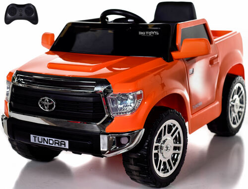 Mini Toyota Tundra Ride On Truck w/ RUBBER TIRES & LEATHER SEAT - Orange
