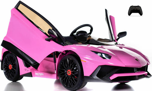 Toddler Lamborghini Ride On Car w/ Leather Seat & Large Motors - Pink