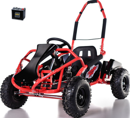 48v Electric Go-Kart w/ Upgraded Suspension - Red