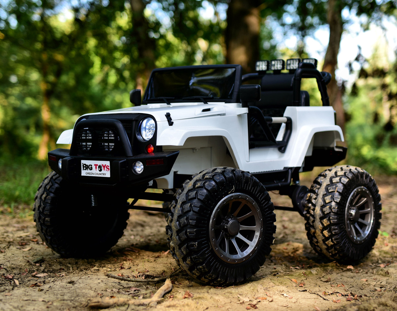 24v Monster Lifted Ride On Crawler Truck W Huge Wheels Parental Rc Remote White Big Toys Green Country