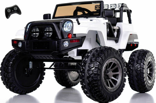 24v Monster Lifted Ride On Crawler Truck w/ HUGE Wheels & Parental RC Remote - White